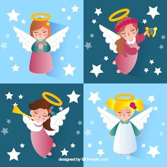 Коллекция девушек-ангелов на рождество