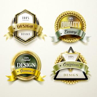 キラキラエレガントなゴールデンラベルデザインセットのコレクション