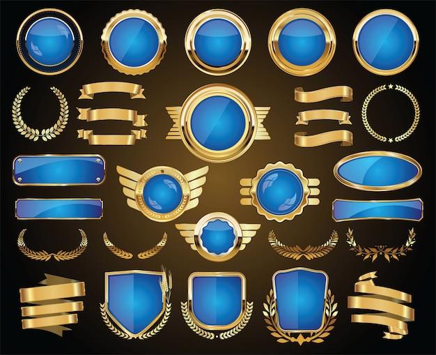 Коллекция золотых и синих значков, этикеток, лаврового щита и металлических пластин