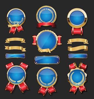 金と青のバッジのコレクションは、月桂樹の盾と金属板にラベルを付けます