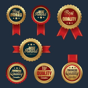 Collection of Gold badges top quality, premium quality and best award
