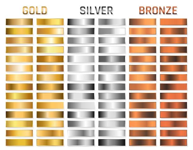 ゴールド、シルバー、クローム、ブロンズのメタリックグラデーションのコレクション。ゴールド、シルバー、クローム、ブロンズのメタリック効果のあるブリリアントプレート。