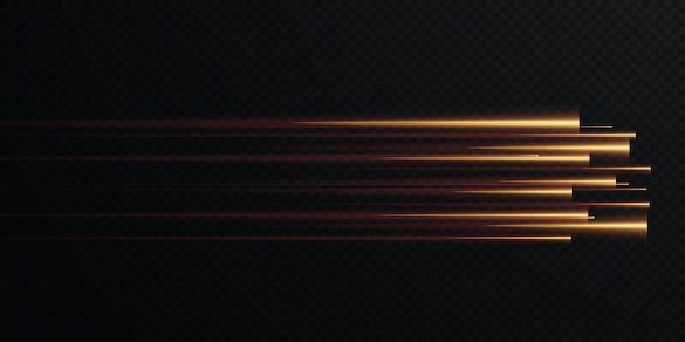 골드 속도 라인 절연의 컬렉션 골드 빛 전기 조명 효과 png 곡선 골드입니다.