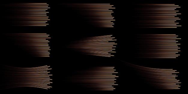 골드 스피드 라인 절연 골드 라이트 전등 조명 효과 Png 컬렉션 프리미엄 벡터