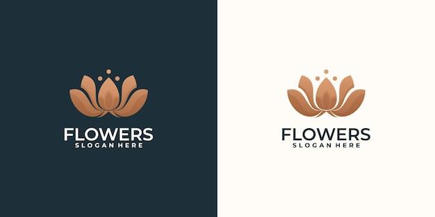 Коллекция золотого абстрактного дизайна логотипа лотоса