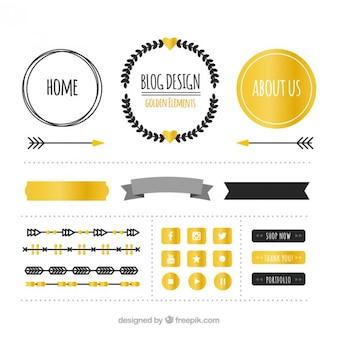 金色と黒のブログ項目のコレクション