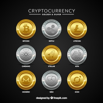 Collection of golden and silver cryptocurrency coins