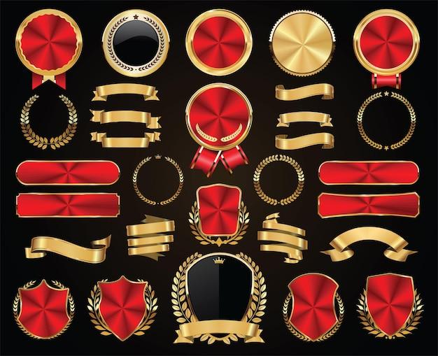 Коллекция золотых значков этикеток и тегов