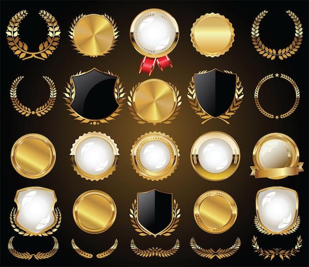 Коллекция золотых значков, этикеток, лавров и лент