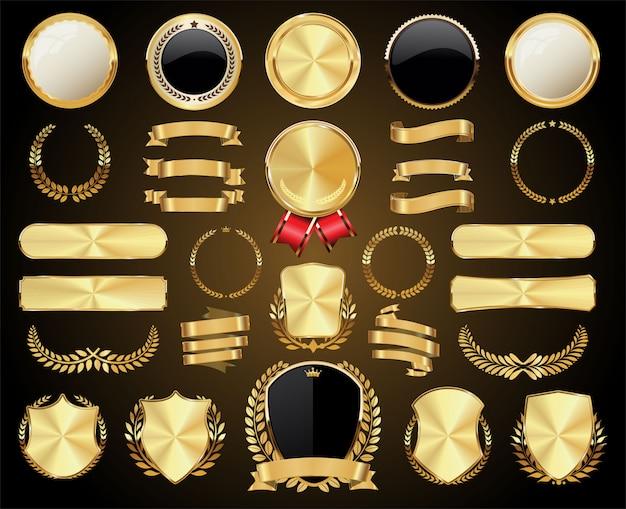 황금 배지 레이블 월계수 방패와 금속 접시의 컬렉션
