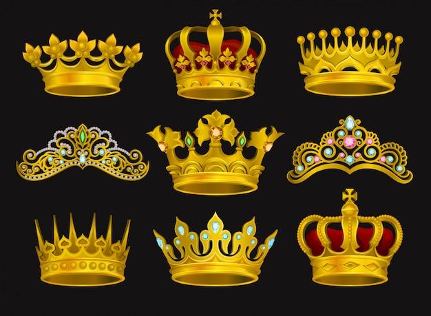 黄金の王冠とティアラのコレクション。黒の背景に分離された現実的なイラスト。