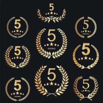 황금 다섯 별 등급 아이콘 템플릿의 컬렉션