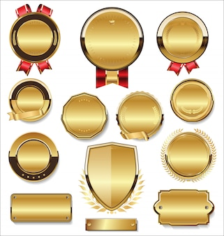 ゴールデンフラットシールドバッジとラベルのレトロなスタイルのコレクション