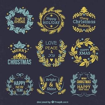 Коллекция золотой цветочный венок с рождественских сообщений