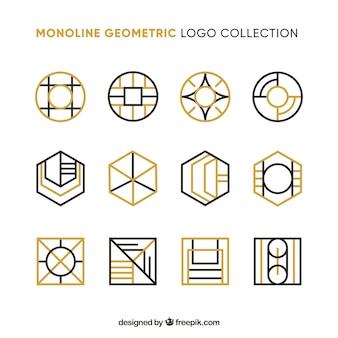 황금 기하학적 로고의 컬렉션