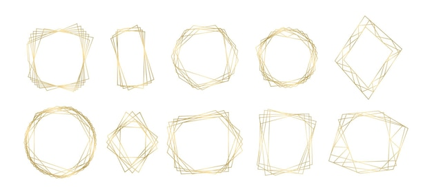 黄金の多角形の幾何学的な豪華なフレームのコレクション