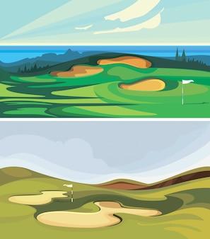 ゴルフコースのコレクション。漫画のスタイルのスポーツフィールド。