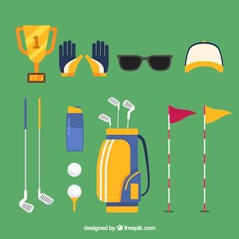 평면 스타일에서 골프 요소의 컬렉션