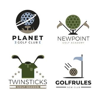 Коллекция шаблонов логотипа гольфа в плоском дизайне