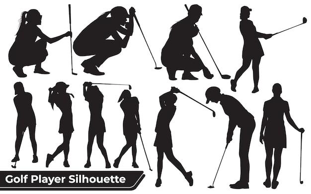 さまざまなポーズのゴルフプレーヤーの女性のシルエットのコレクション