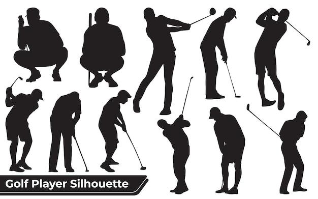さまざまなポーズのゴルフプレーヤーの男性のシルエットのコレクション