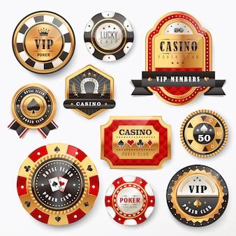 ゴージャスなカジノゴールデンラベルデザインセットのコレクション
