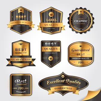 ゴージャスなゴールデンラベルデザインセットのコレクション