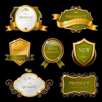 優雅なプレミアムゴールデンラベルデザインセットのコレクション