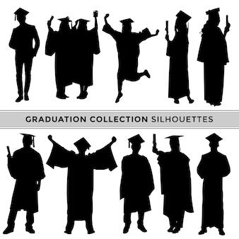 さまざまなポーズでシルエットを祝う卒業生のコレクション