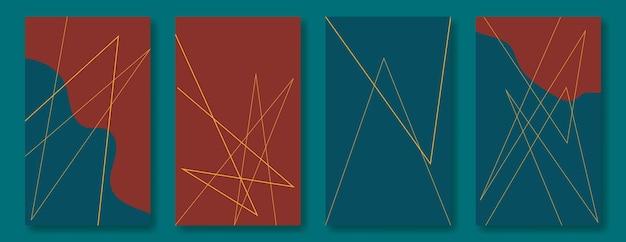 소셜 미디어 스토리를 위한 그래픽 배경 모음입니다. 어두운 색조의 금색 선과 부드러운 추상 모양. 공간을 복사합니다.
