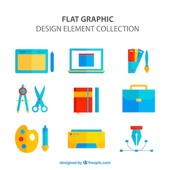 Collection of graphic design elements in flat style