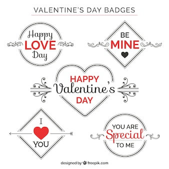 Collection of great valentine's day badges with red details