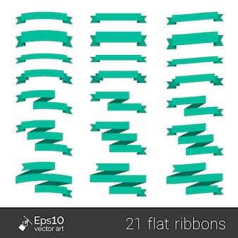 テキストのスペースを白で隔離される緑のフラットスタイルリボンのコレクション。あなたのデザインの要素。紙折り紙。