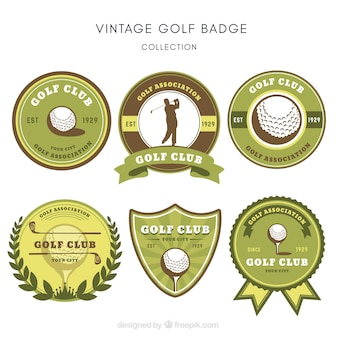 Collection of green golf labels