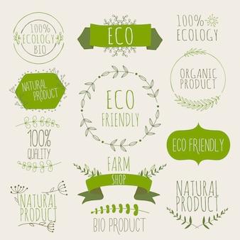 有機、自然、バイオ、環境に優しい製品のグリーンラベルとバッジのコレクション。ヴィンテージ、グリーン色。