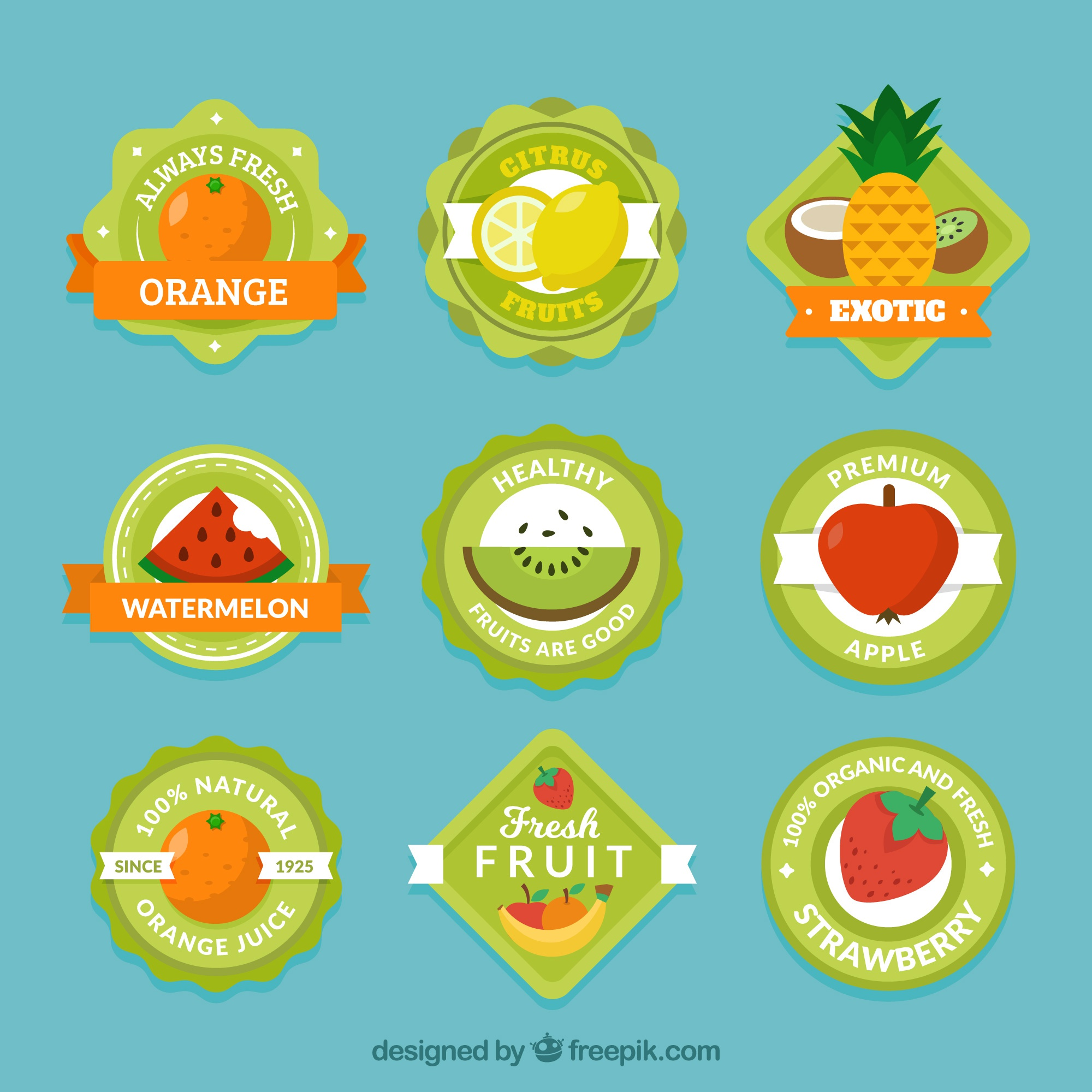 Collection of green labels with variety of fruits