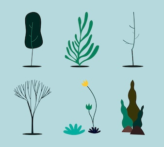 Collection of green nature concept illustration