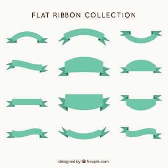フラットなデザインのグリーンリボンのコレクション