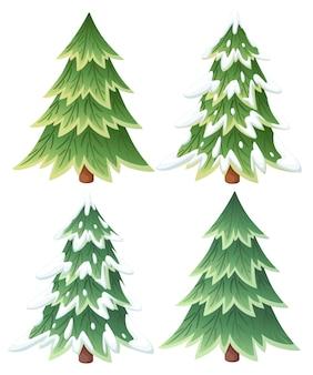 Коллекция зеленых елей. вечнозеленый стиль. рождественская елка в снегу. иллюстрация на белом фоне