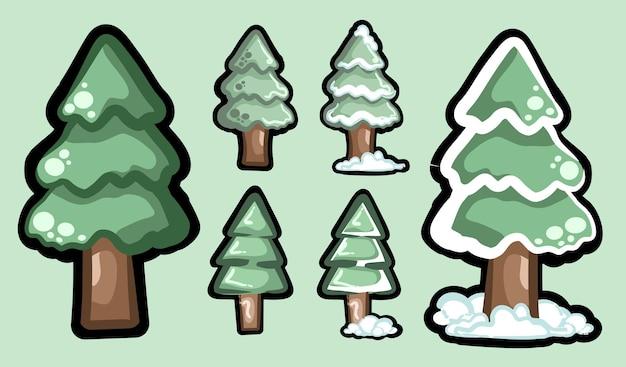 눈 속에서 녹색 가문비나무 나무 상록 스타일 크리스마스 트리의 컬렉션