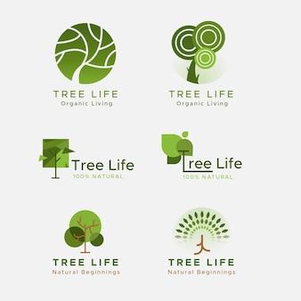 Коллекция логотипа зеленого дерева жизни