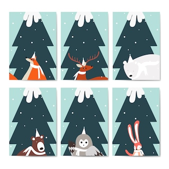 Collection of greeting cards vector