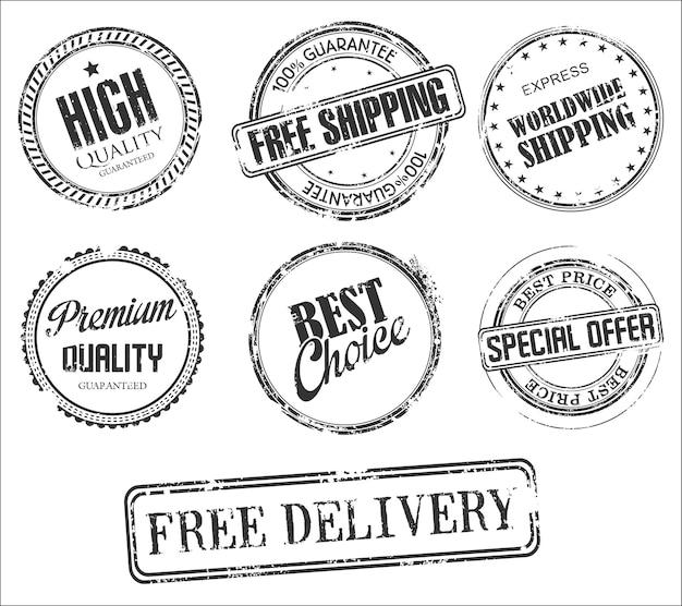 Коллекция марок ретро винтаж дизайн гранж