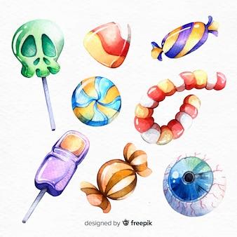수채화 스타일에서 할로윈 사탕의 컬렉션