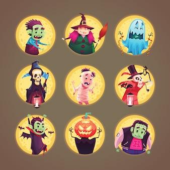 ハロウィーンの漫画のキャラクターのアイコンのコレクション。図。