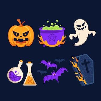 Коллекция хэллоуин плоский дизайн элементов