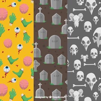평면 스타일에서 할로윈 패턴의 컬렉션