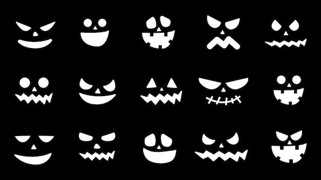 Коллекция тыквы хэллоуина стоит перед иконами. страшные лица призрака. жуткая тыквенная улыбка, фонарь или испуганный вампир. дизайн к празднику хеллоуин. векторная иллюстрация.