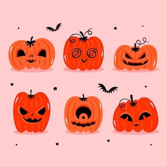 Коллекция тыквы хэллоуина в плоском дизайне