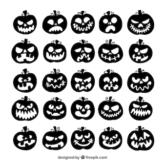 Коллекция силуэтов тыквы хэллоуина